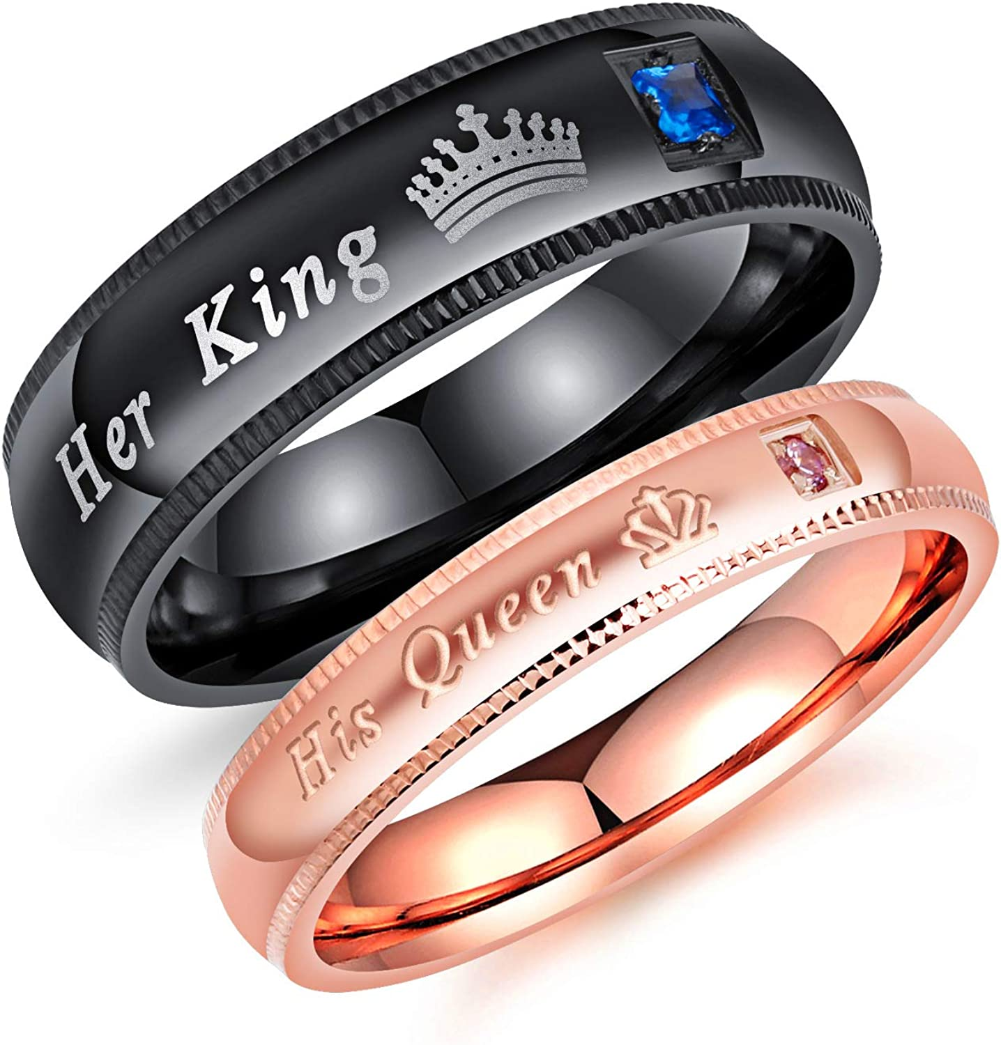 Shuxy 2pcs Matching Ring Couple Ring Pair Lovers Band Set Titanium Steel Ring Promise Rings Cubic Zirconia Ring His /& Her Ring You Forever Love Top Ring Anniversary Ring for Wedding Engagement Gift