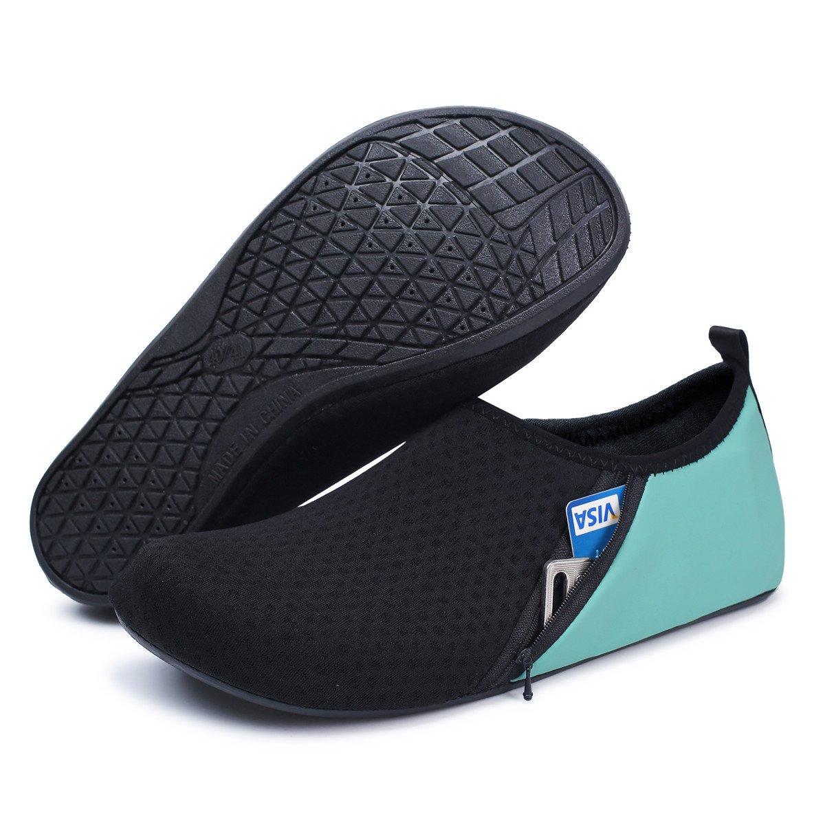 JIASUQI Mens Beach Walking Sandals Water Shoes for Pool Swim Zip Green US 7.5-8.5 Women, 6.5-7.5 Men by JIASUQI (Image #3)