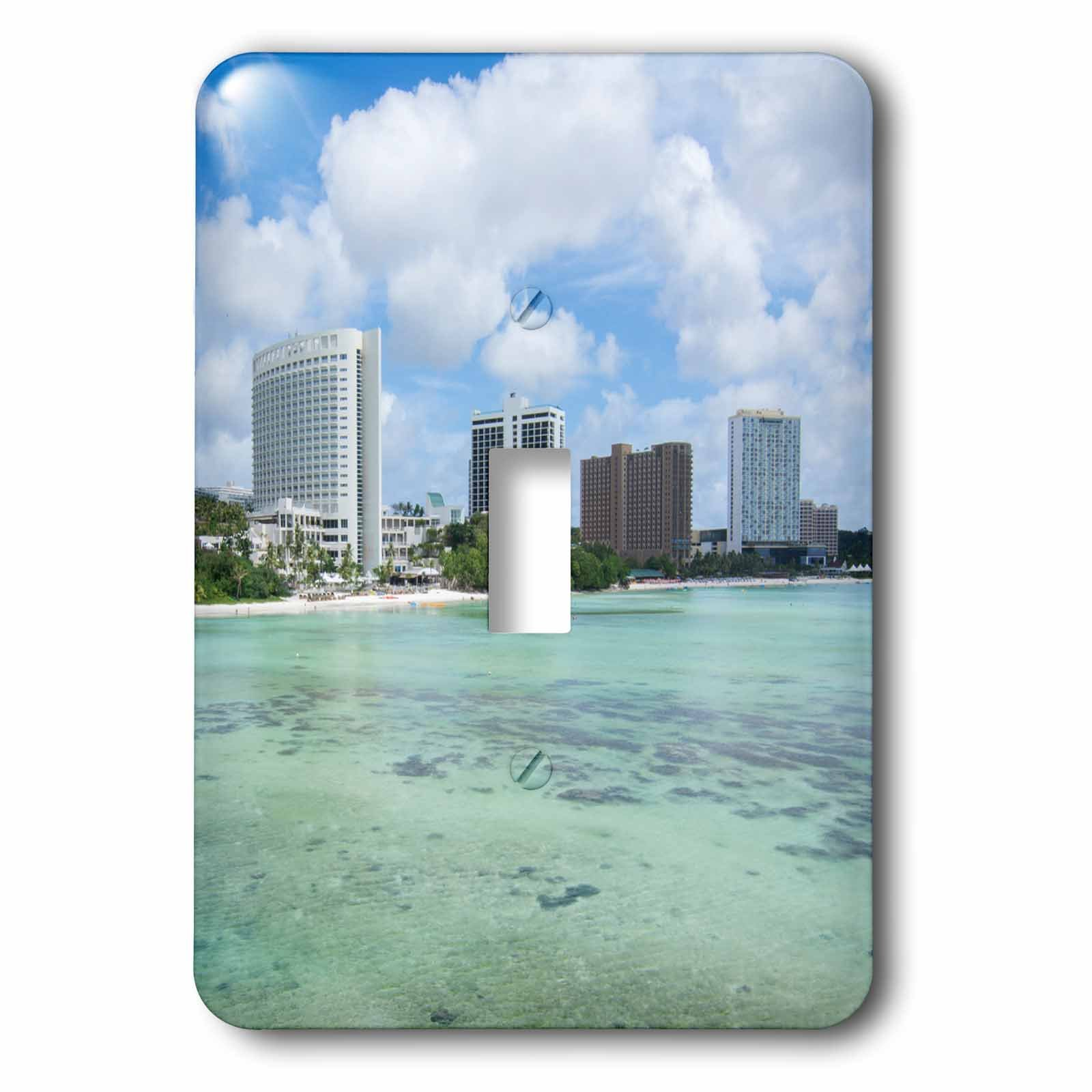 3dRose Danita Delimont - Cities - Guam Territory. Hotels line beach with clear tropical waters. - Light Switch Covers - single toggle switch (lsp_278126_1)