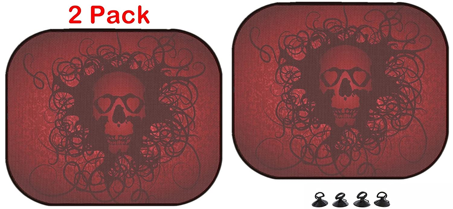 Luxlady Car Sun Shade Protector Block Damaging UV Rays Sunlight Heat for All Vehicles, 2 Pack Image ID: 29647332 Skull Love Heart Abstract red Dark Luxlady Inc.