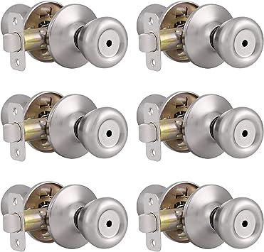 Probrico Interior Privacy Door Knob for Bedroom Stainless Steel Bathroom Door Handle Tulip No Key Door Lock Set Satin Nickel