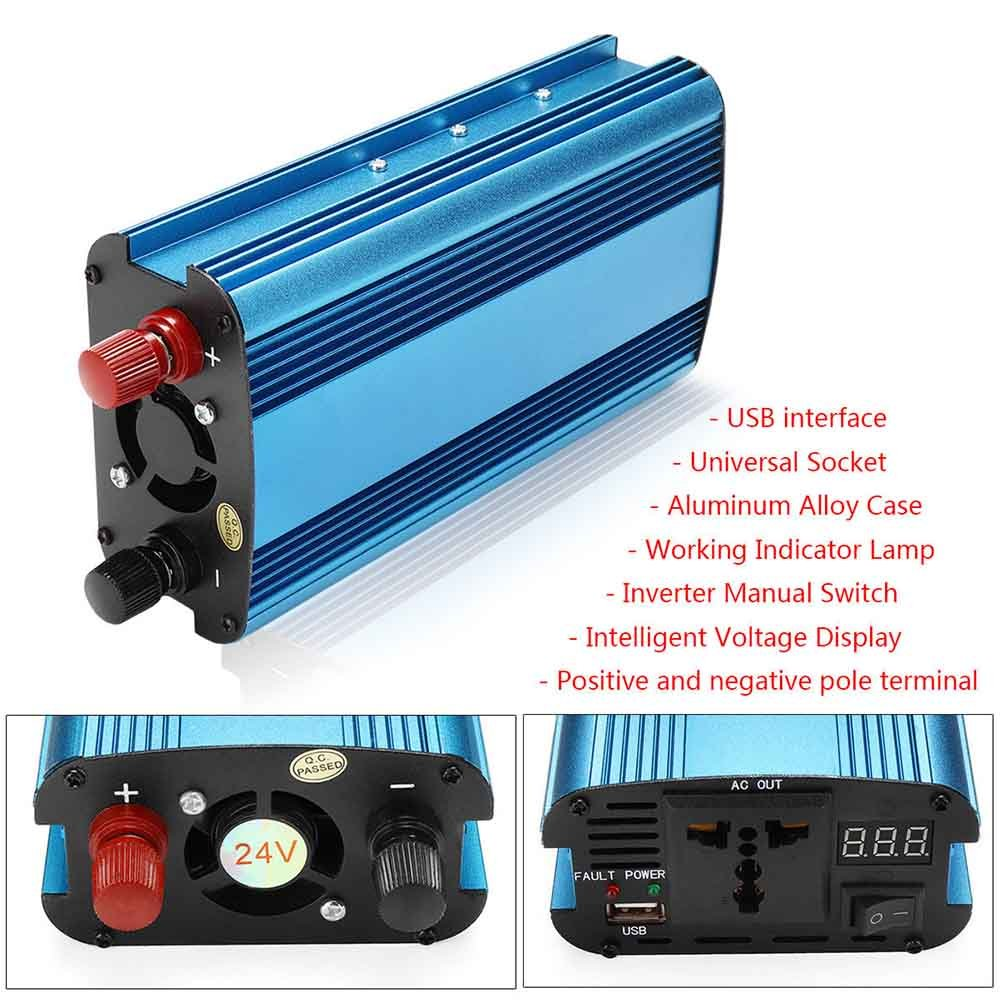 Crewell 3000/ W//4000/ W Voiture Solaire Power Inverter DC 12//24/ V to AC 220/ V convertisseur Onde Sinuso/ïdale Modifi/ée