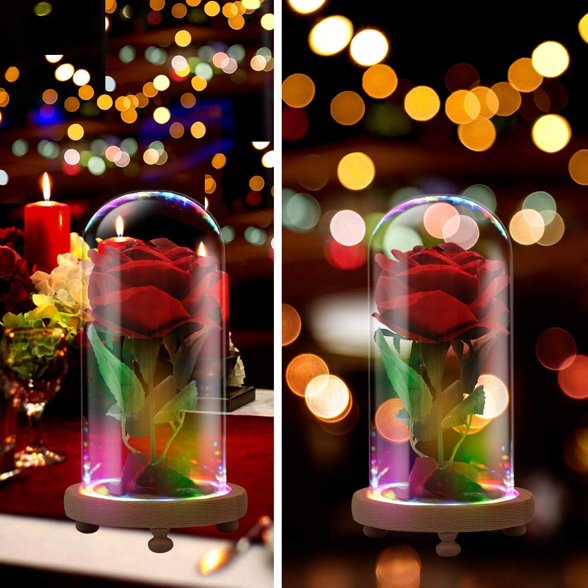 jiabang Red Velvet Rose Colorful Night Light in Glass Dome - Romantic Gift for Her | Movie Theme Party Wedding Decoration