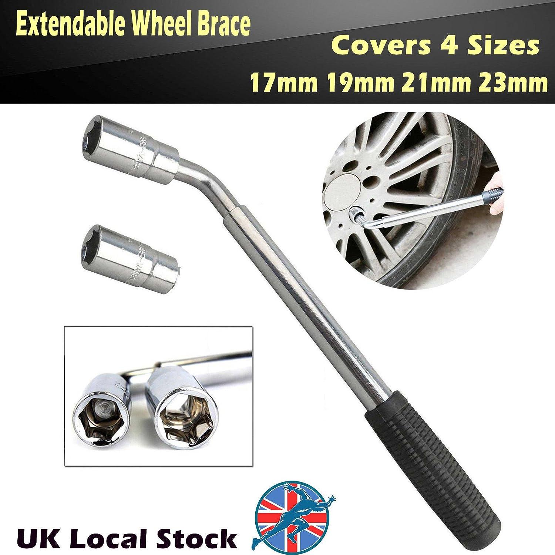 Llave telescópica extensible para rueda de 17 mm, 19 mm, 21 mm, 23 mm, 4 tamaños para neumáticos de coche, herramientas de mano, garaje, ...