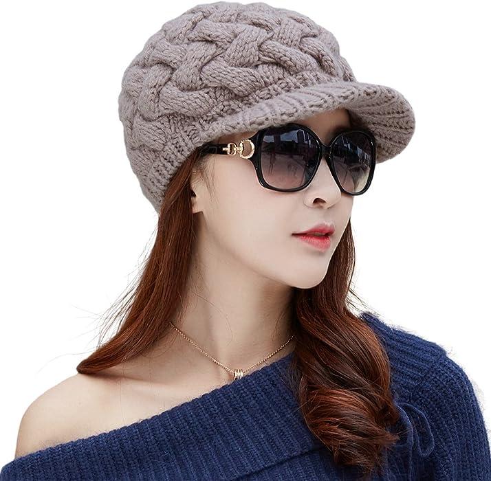 e83b8c4f3c2 SIGGI 50% 100% Wool Newsboy Cap Winter Hat Visor Beret Cold Weather Knitted