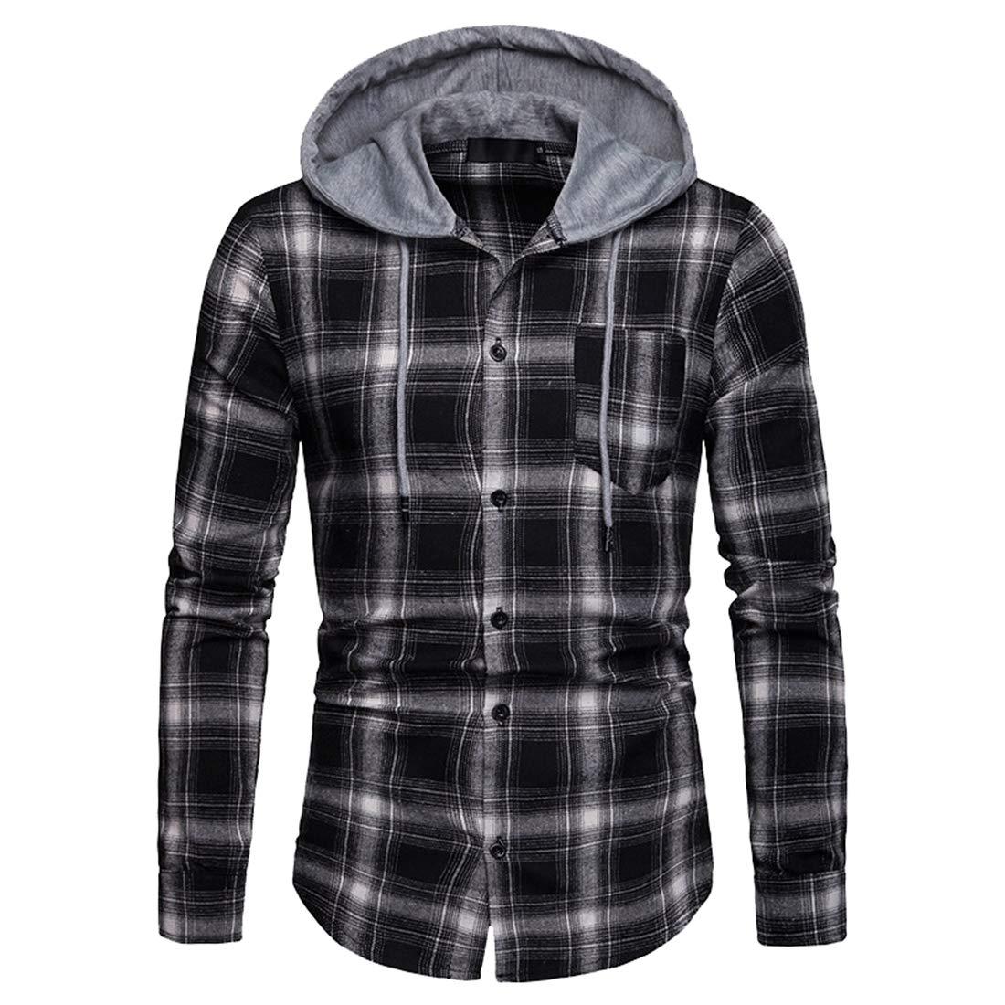 Generic Mens Business Plaid Long Sleeve Curved Hem Button Down Shirt Hoodie Shirt