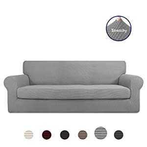 PureFit 2 Pieces Stretch Slipcover for 3 Cushion Couch – Spandex Jacquard Non-Slip Soft Fitted Sofa Couch Cover, Washable Furniture Protector with Anti-Skid Elastic Bottom for Kids (Sofa, Light Gray)