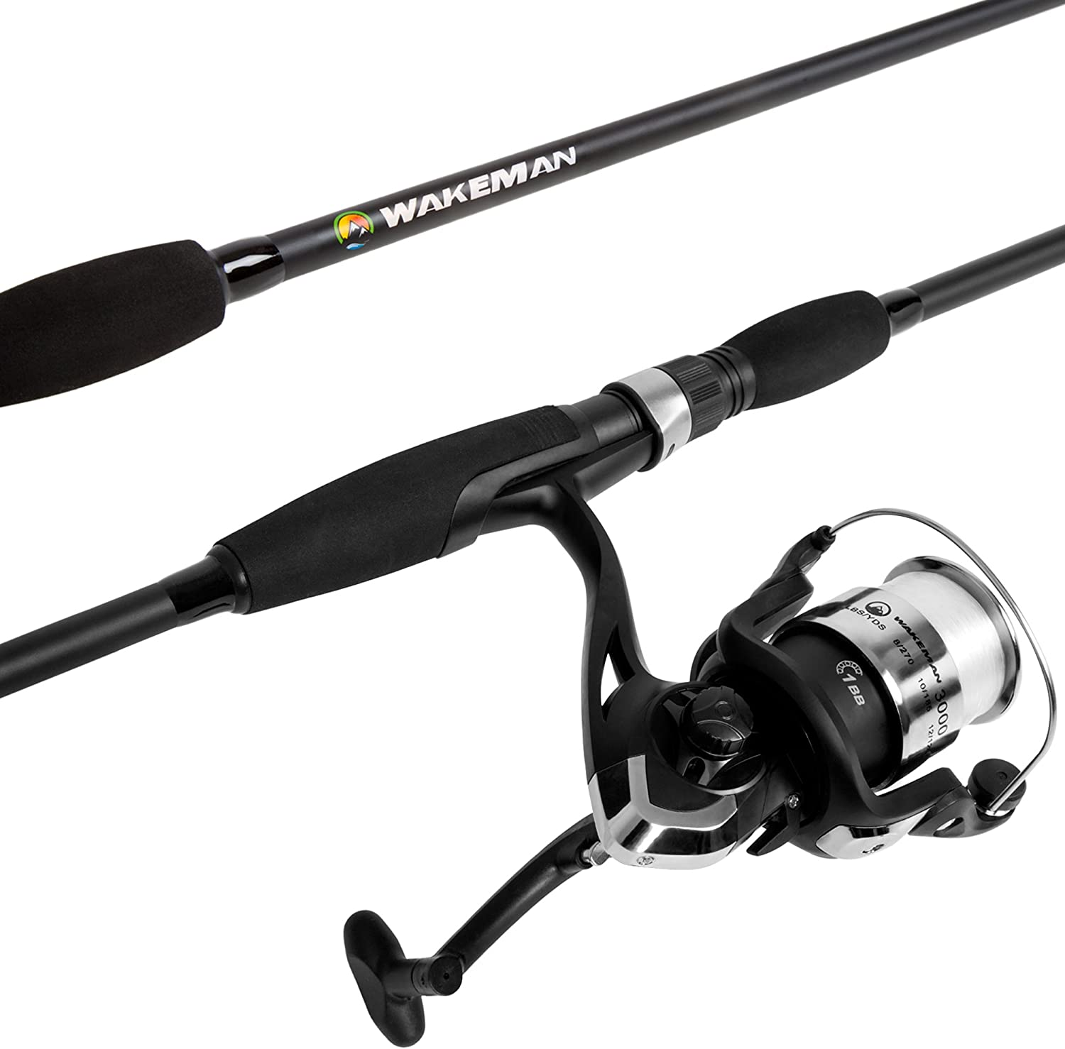 Amazon Com Wakeman Fishing Strike Series Spinning Rod And Reel Blackout Combo Length 78 Inches Reel Width 5 75 Inches Reel Height 5 Inches Clothing