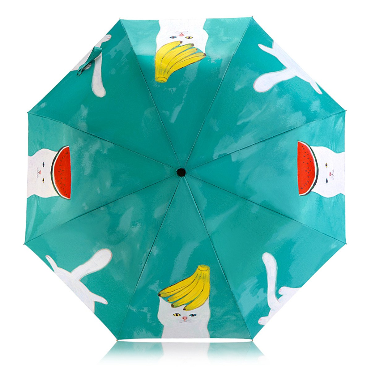 Artistic Umbrella Light-weighted Folding Umbrella with Anti-UV and Windproof Funtions Suitable for Both Sunny and Raining Days- Available In 5 Patterns (Fruit And Cat)
