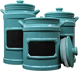 Blue Donuts 3-Piece Canister Sets for Kitchen Counter - Ceramic Airtight Food Storage Containers, Kitchen Canisters with Chalkboard, Set of 3-54 Oz, 43 Oz, 36 Oz, Turquoise