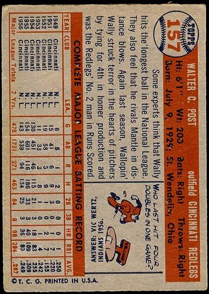1957 WALLY POST Cincinnati REDLEGS Original Vintage Topps Baseball Card Number 157