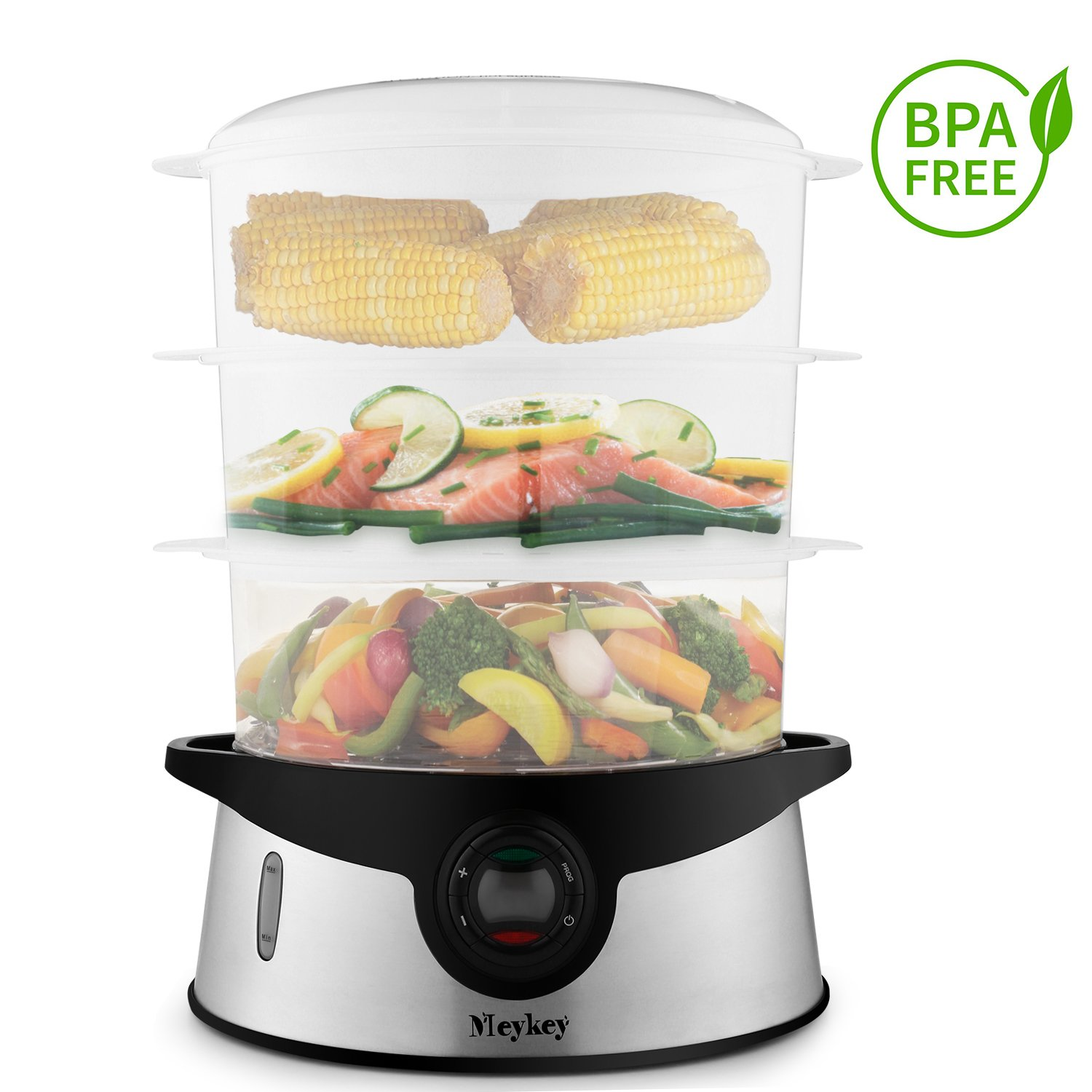 9.5 Quart Food Steamer BPA Free, 3 Tier Stackable Baskets Vegetable Steamer with Rice and Grains Tray, Electric Steamer 800W Fast Heat up Voluker