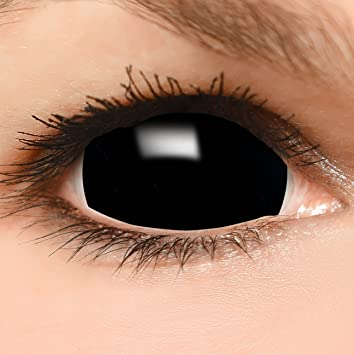 unschlagbarer Preis 100% authentifiziert gute Qualität Black Sclera Kontaktlinsen in schwarz, weich ohne Stärke, 2er Pack inkl.  Spiegelbehälter und 50ml Kombilösung - Top-Markenqualität, farbige angenehm  ...