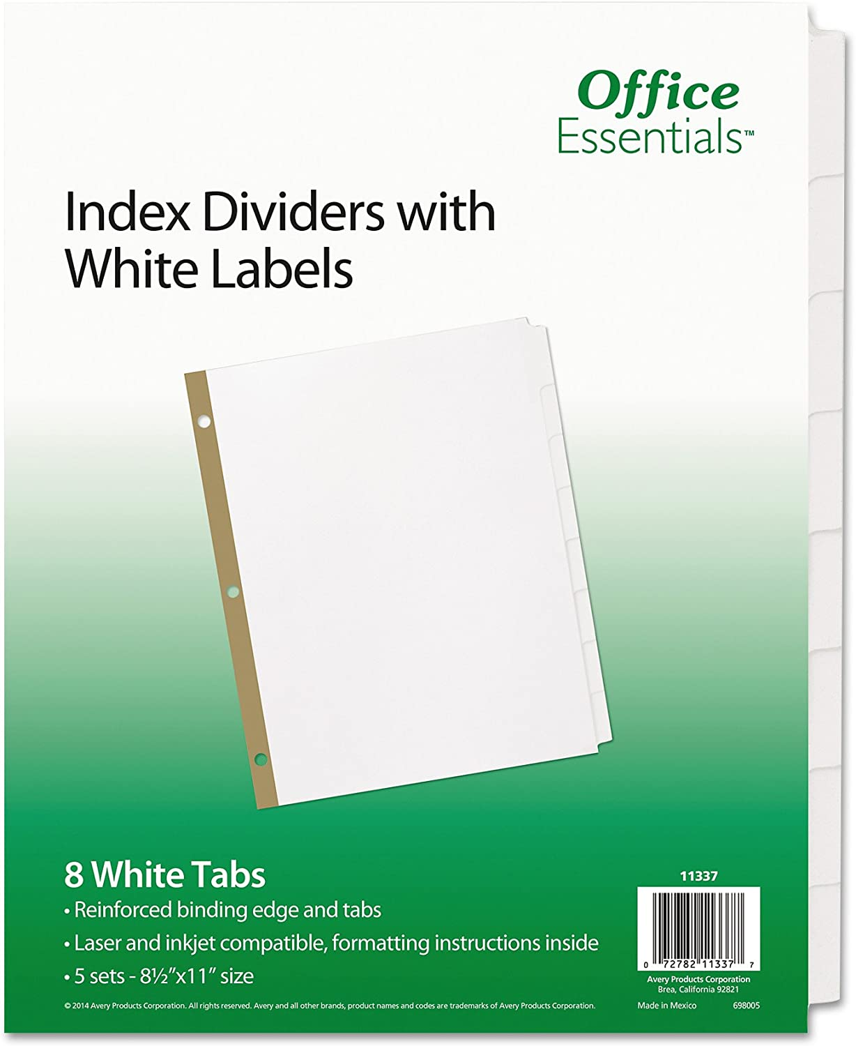 Office Essentials 11337 Index Dividers w/White Labels, 8-Tab, Letter (Pack of 5 Sets)