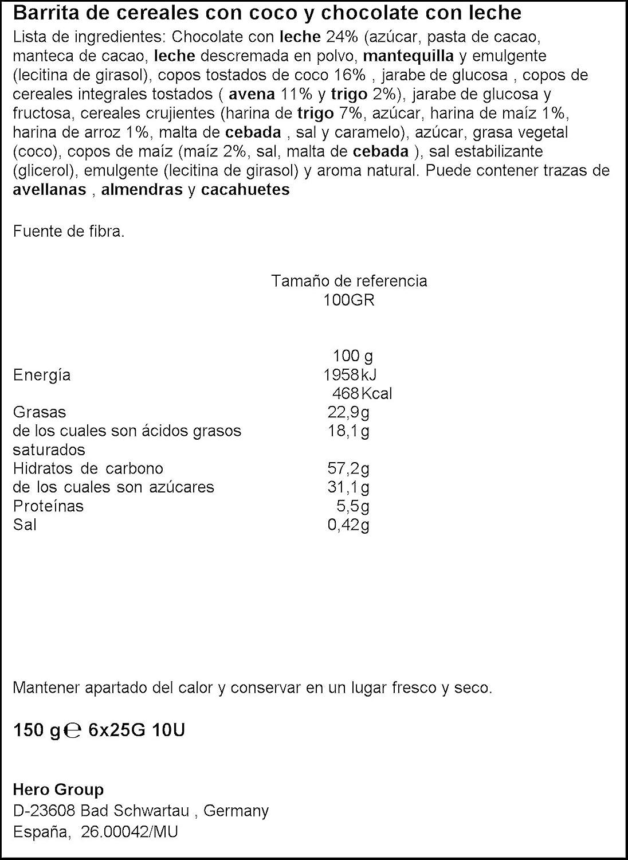 Hero Barrita De Cereales Con Coco Y Chocolate Con Leche - Pack de 6 x 25g - Total: 150 g: Amazon.es: Amazon Pantry