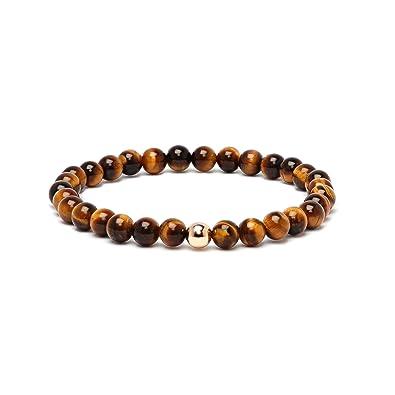 Or Bracelet Avec 6mm Jaune Oeil De 3751000 Perles Homme Tigre 0NO8nkXwP