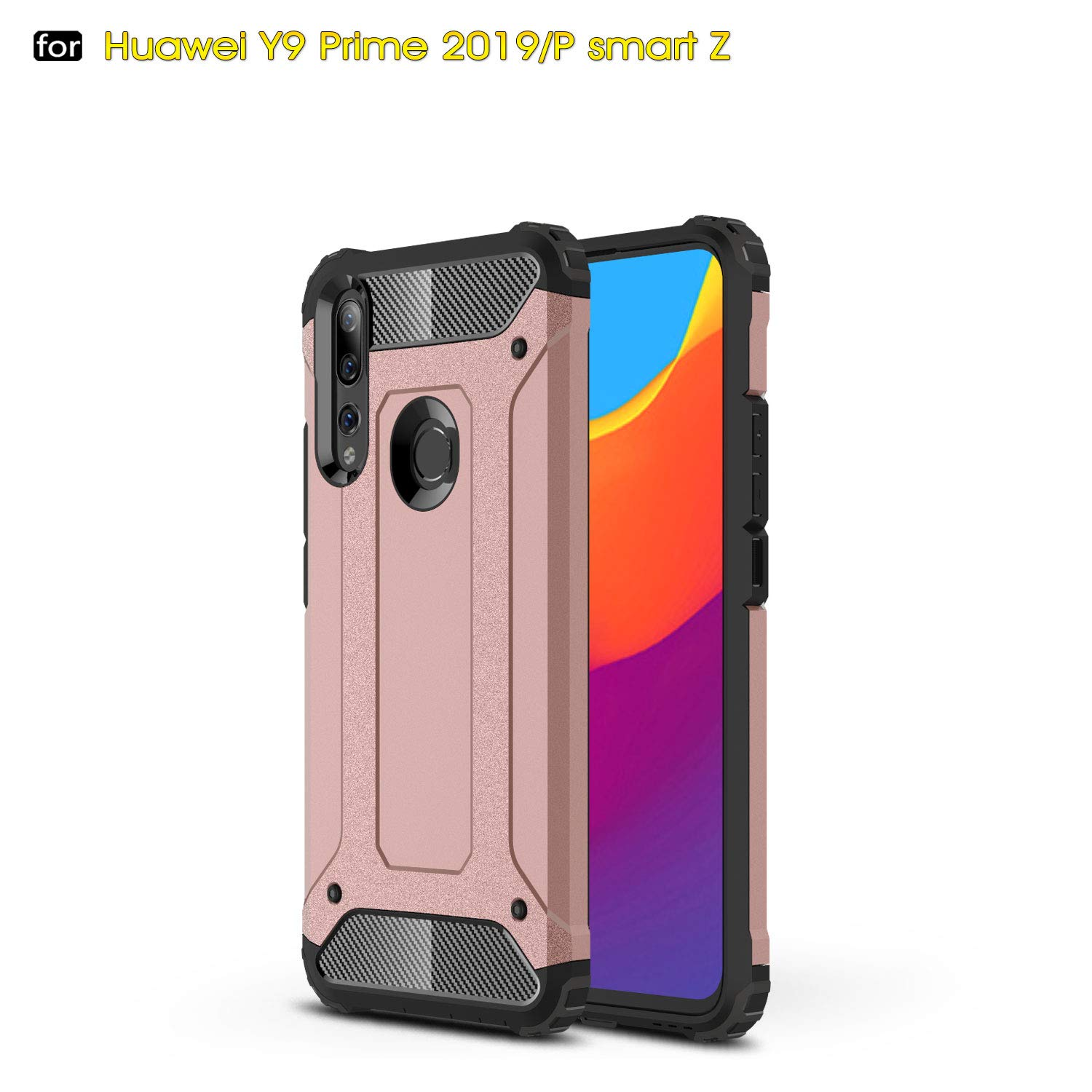 P Smart Z /Y9 Prime 2019 Case, TPU +PC Iron Armor Shockproof Designed Case,Full Body Dual Layer Rugged Cover for Huawei P Smart Z /Y9 Prime 2019 ...