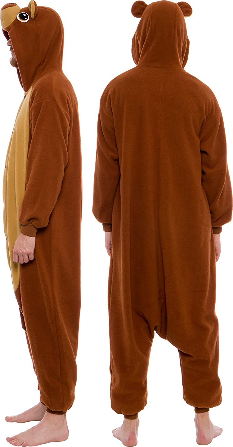 Unisex Bear Pajamas One Piece Jumpsuit Mommy and Me Matching Christmas Pajamas BROWN BEAR Suit for Adults Fireman/'s Flap Xmas Gift