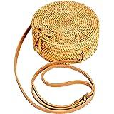 Lefur Handwoven Round Rattan Bag for Women Straw Bag Beach Crossbody Purse with Shoulder Straps Lined Boho Handbag