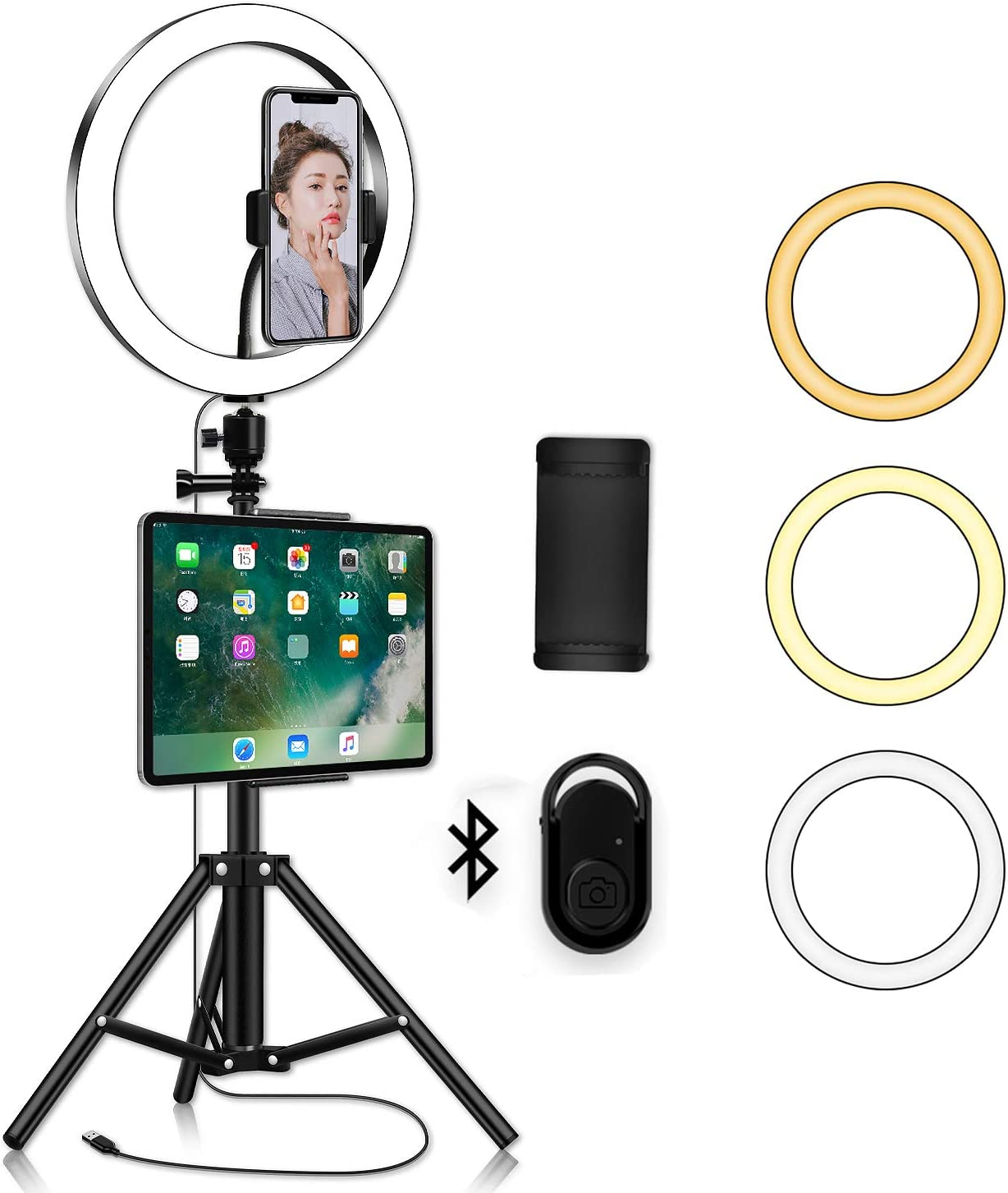 Tmtop LED Ring Light with Tripod Tablet Clip 26cm LED Ring Light Dimmable LED Live Video Ring Light Set with Tripod Stand
