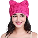 v28 Women Men Girls Boys Teens Cute Cat Ear Knit Cable Rib Hat Cap Beanie