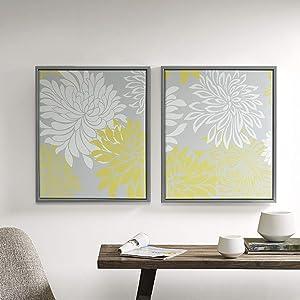 amazon com décor 5 printed canvas set with silver metallic foil