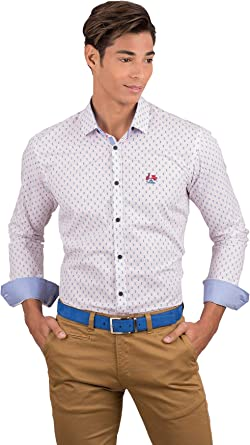 La Vespita Camisa con Estampado Azul y Rojo con Logo Vespa: Amazon.es: Ropa y accesorios