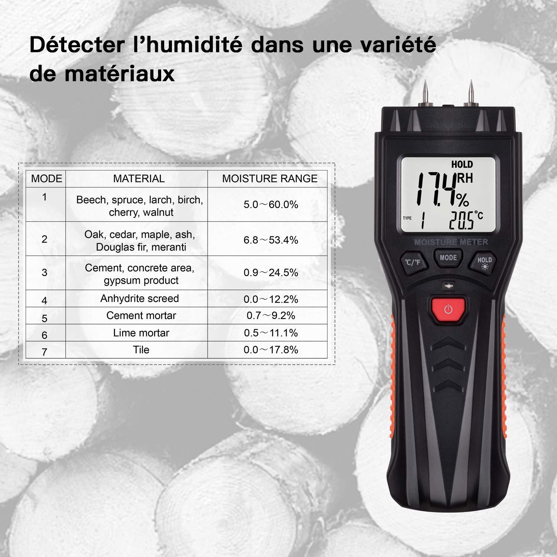 Datenspeicherfunktion f/ür Holz Digitaler Feuchtigkeitssensor mit 7 Modi LCD-Hintergrundbeleuchtung Pflanzen Zement Bereich 0,0/% ~ 60,0/% Tacklife MWM03 mit Testst/äben