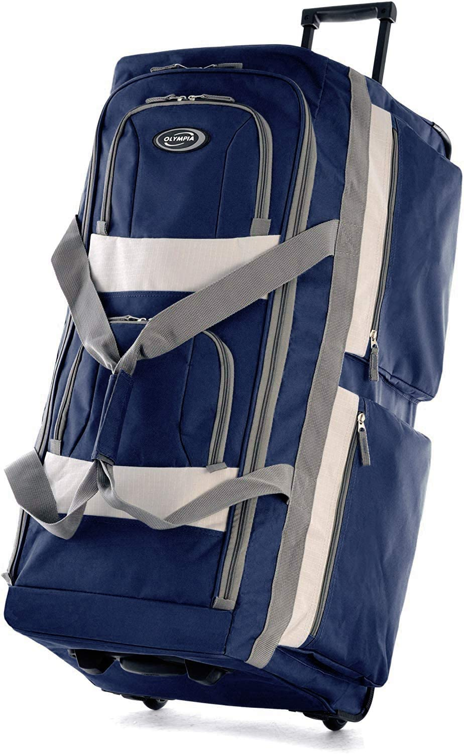 | Olympia 8 Pocket Rolling Duffel Bag, Navy, 22 inch | Travel Duffels