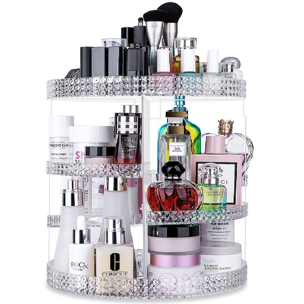 Awenia Makeup Organizer 360-Degree Rotating, Adjustable Makeup Storage, 7 Layers Large Capacity Cosmetic Storage Unit, Fits Different Types of Cosmetics and Accessories, Plus Size Clear