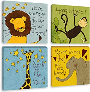 Biufo Jungle Animals Wall Art Canvas Print Inspirational Quotes Safari Painting Pictures for Nursery Toddler Kids Room Decor, Framed 12x12 Inches