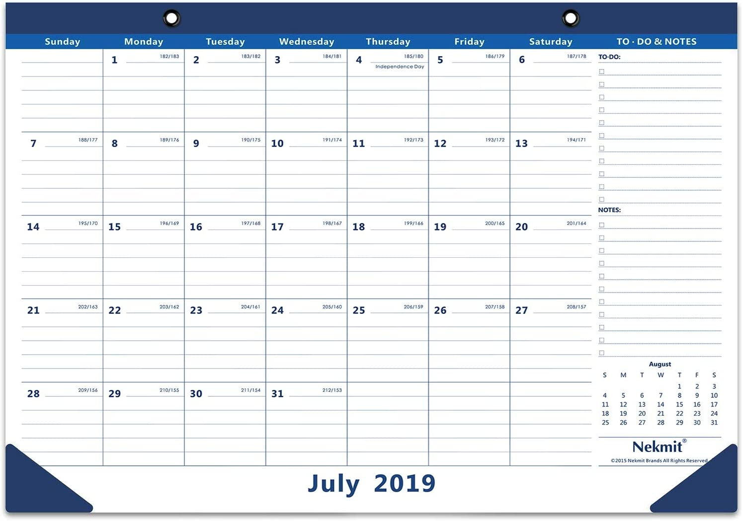 Nekmit 2019-2020 Academic Monthly Desk Pad Calendar, July 2019 - December 2020, 16-3/4 x 11-4/5 Inches, Blue