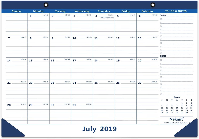 Nekmit 2019-2020 Academic Monthly Desk Pad Calendar, July 2019 - December 2020, 16-3/4 x 11-4/5 Inches, Blue