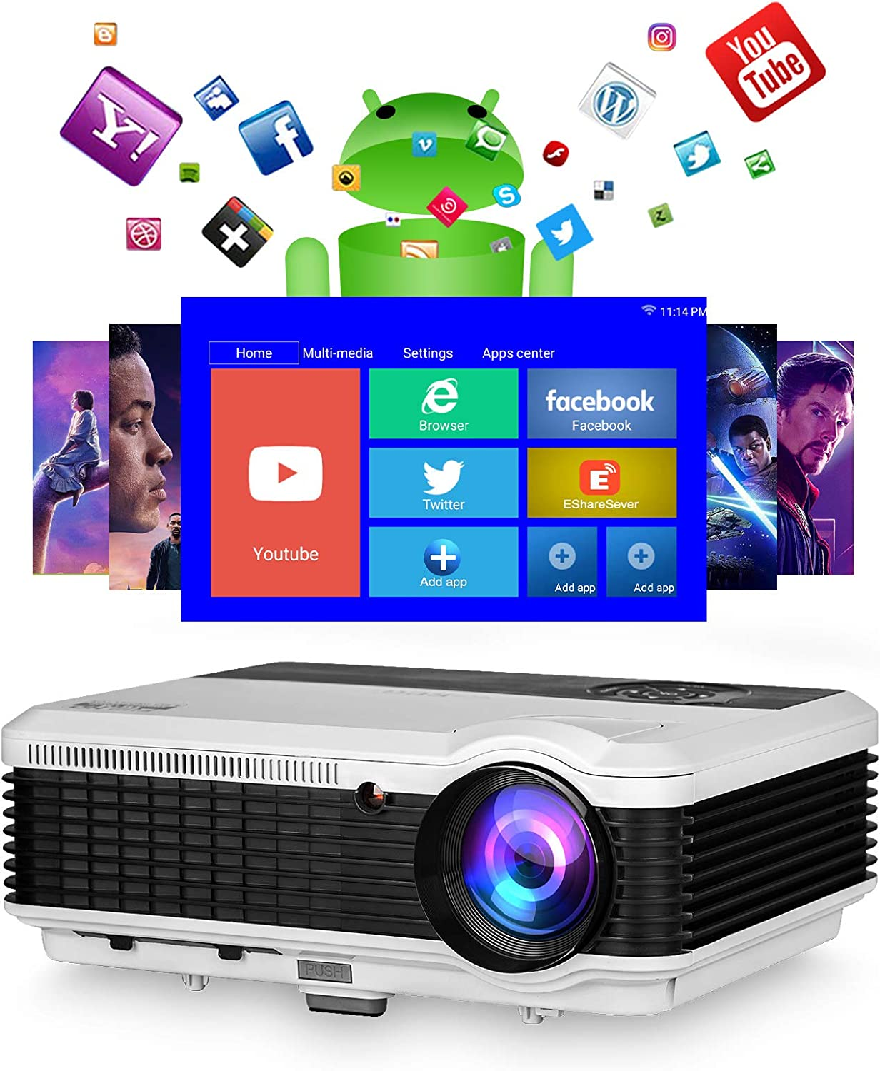Smart WiFi Projector Wireless Android Bluetooth Outdoor Movie Home Theater Projector Full HD 1080P Screen Mirror 5000L for Video Gaming Compatible with iPhone,Laptop,DVD Player,PS4,TV Stick,HDMI/USB