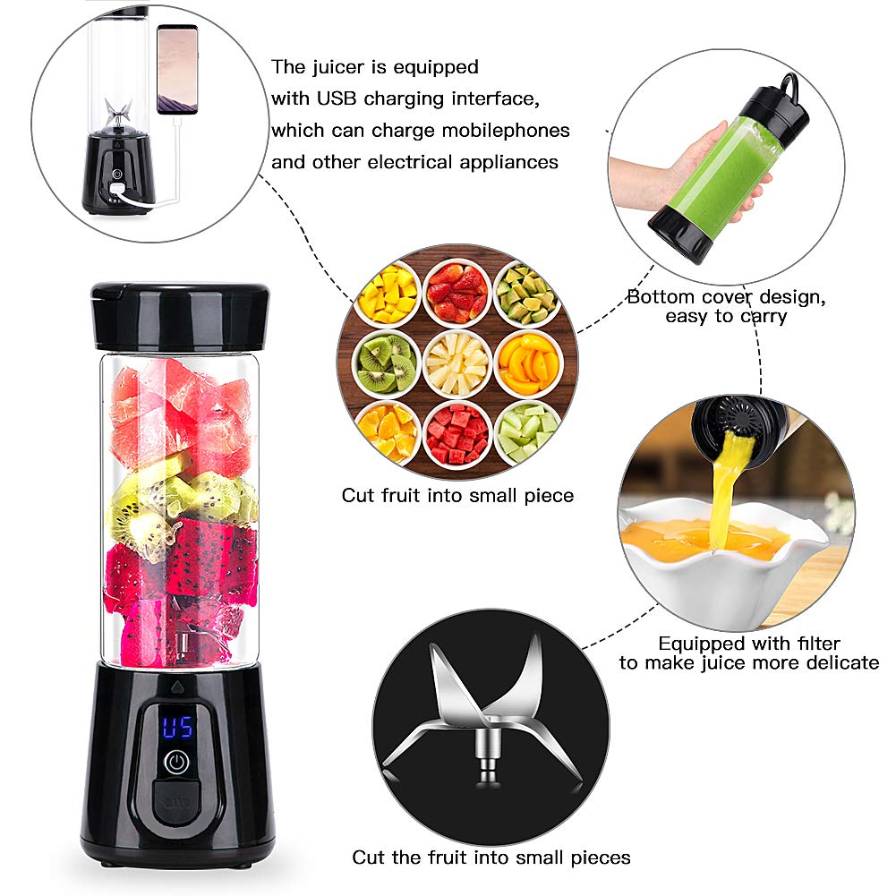 Portable Blender YouJiaBest 1.7 Cup with Easy Clean Glass Stainless Steel 6-Blade and Detachable Cup.USB Rechargeable Small Blender for Shakes and Smoothies by YoujiaBest (Image #4)