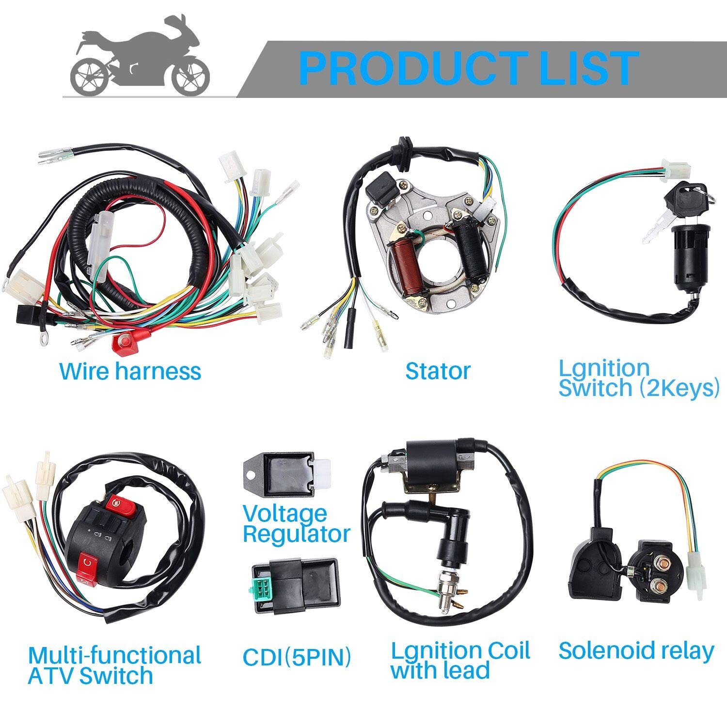 70cc Wiring Harness Best Library Coolster 125cc Atv Diagram Cisno Complete Electrics Stator Coil Cdi For 4 Stroke Klx 50cc 110cc