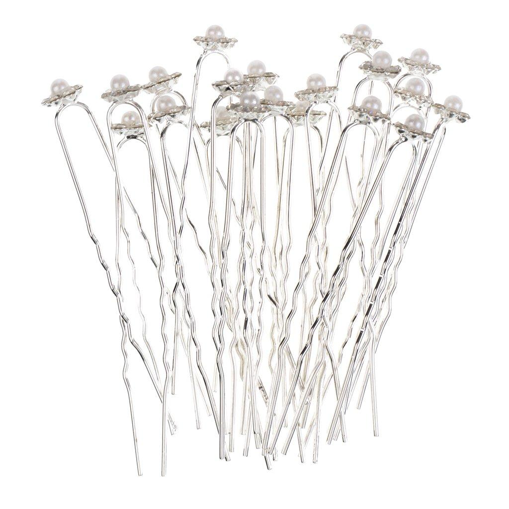 Fenteer 10 Pieces Wholesale Clear Glitter Rhinestone Faux Pearl Flower Design U Shaped Hair Pins DIY Headdress