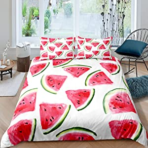 Feelyou Watermelon Comforter Cover Set Summer Tropical Fruits Printed Duvet Cover for Kids Boys Girls Cute Watermelon Bedding Set Pink Green Bedroom Collection 2Pcs Twin Size Bedclothes