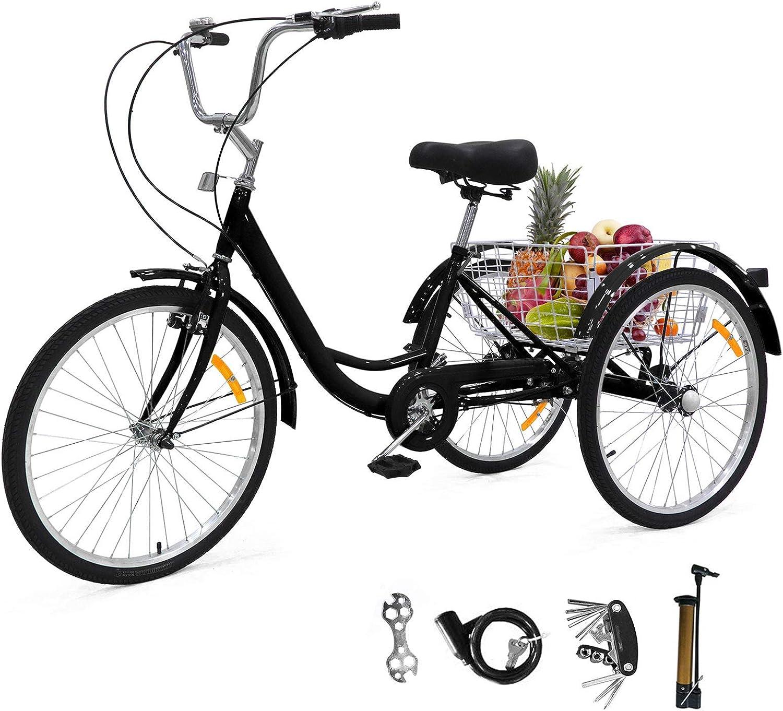 Sehrgo ZEHNHASE Triciclo para Adultos con cestas, 24 Pulgadas Bicicleta de Triciclo con Marco de aleación(DE Valores)
