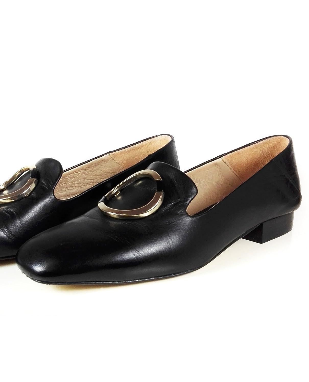 Massimo Dutti Mocasines de Otra Piel Mujer, Negro (Negro), 42: Amazon.es: Zapatos y complementos