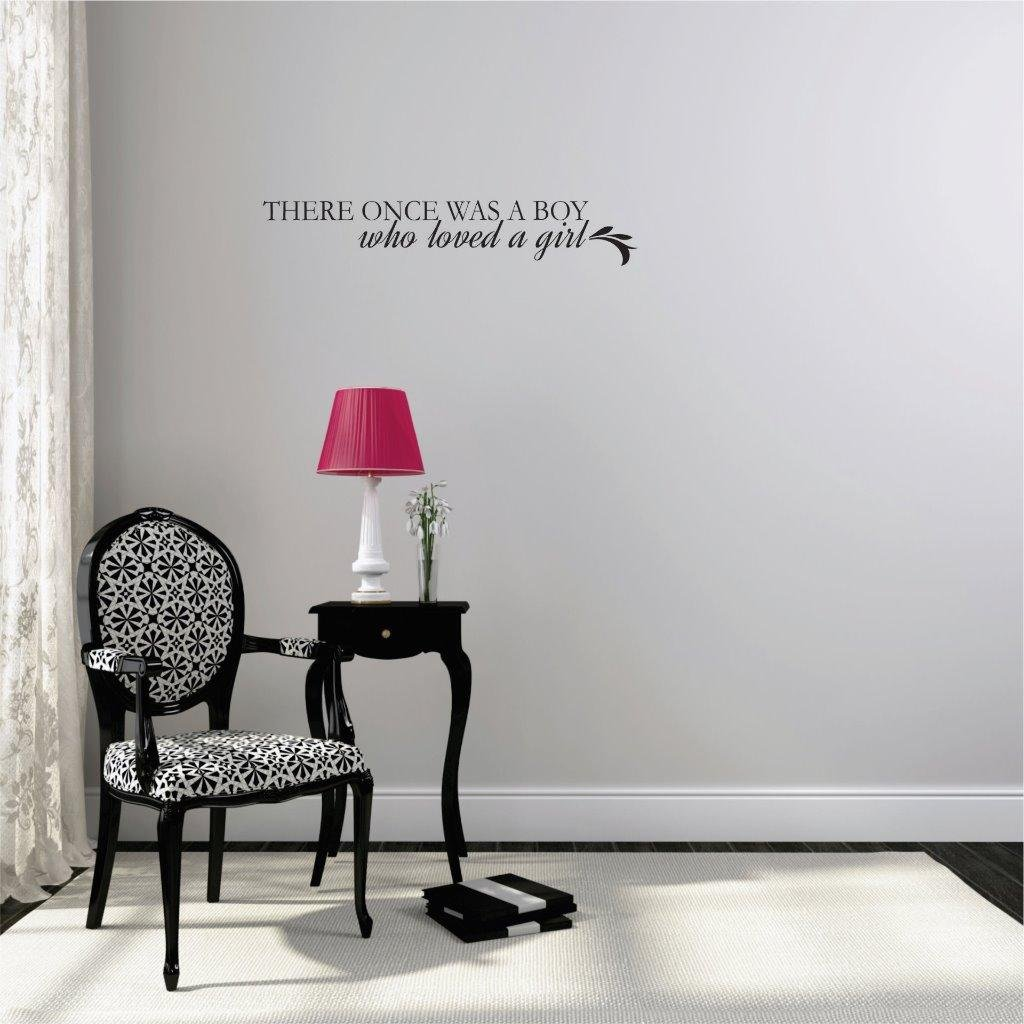 Peel /& Stick Wall Sticker Design with Vinyl Moti 2181 2 Decal There Once was A Boy who Loved A Girl Text Quote Living Room Color 8ES x 32ES Black Size