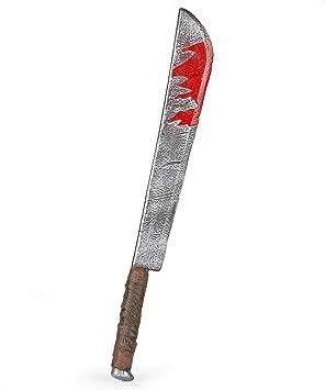 Cuchillo largo con manchas de sangre 74cm: Amazon.es ...