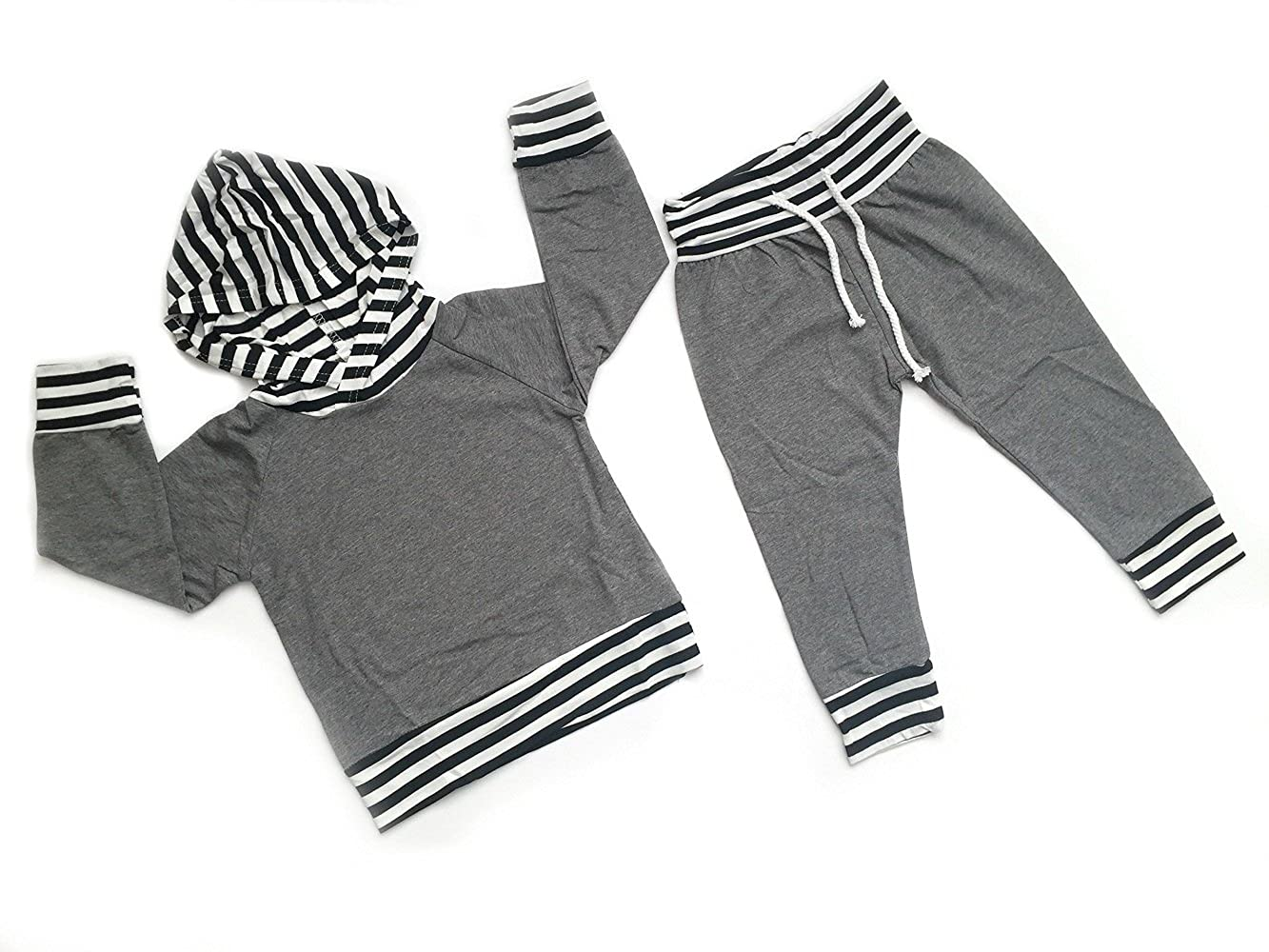 Copper Robin Baby Boys Grey and Striped Hoodie Sweatshirt and Pants Set Sweatsuit