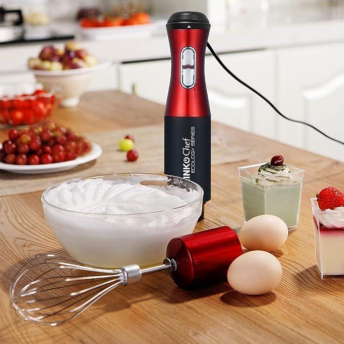 Batidora de inmersión LINKChef 4 en 1, potente batidor de bajo ruido grande de 800 ml, batidor de acero inoxidable y cortador de alimentos de 500 ml, sin BPA y FDA, rojo/negro (