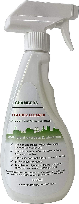 Limpiador de cuero natural Chambers (500ml) para sofá, asientos de coche, botas, etc