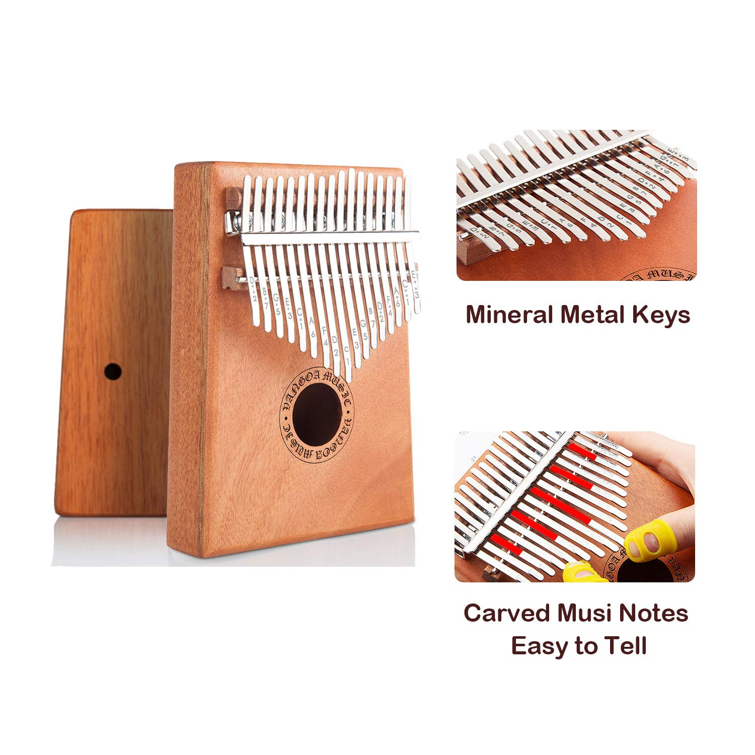 Vangoa Kalimba 17 keys African Thumb Piano kit with Rubber Finger Guards, Tuning Hammer, Carry Bag, Cloth bag, Pickup and Key stickers by Vangoa (Image #3)