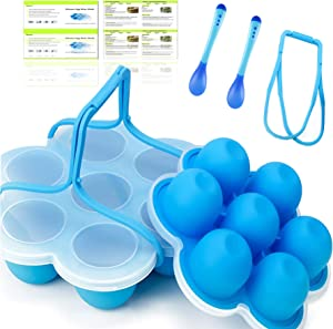 LKGEGO Silicone Egg Bites Molds for Instant Pot Or Pressure Cooker 5,6,8 qt, Baby Food Freezer Tray With Lid and Handles, Together with Spoons, Recipe (6 -Pack)