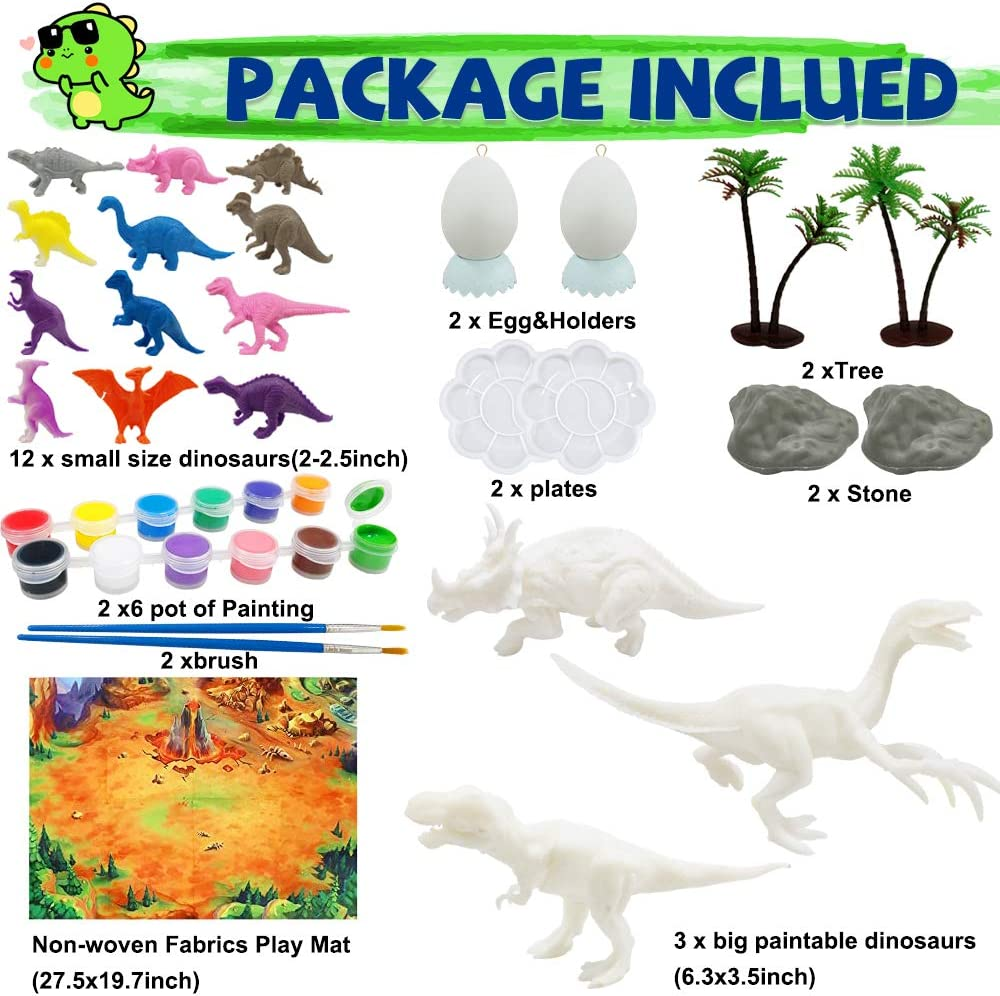 Create Your Own Dinosaurs Figurines World for Kids Kids Crafts and Arts Supplies,Dinosaurs Painting Kit DIY 3D Dinosaurs Toys Craft Supplies for Kids Boys Girls Age 4 5 6 7 8 9 10 Years and Up
