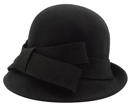 24f11c1453e9f4 Bellady Women Solid Color Winter Hat 100 percent Wool Cloche Bucket with  Bow Accent,Black
