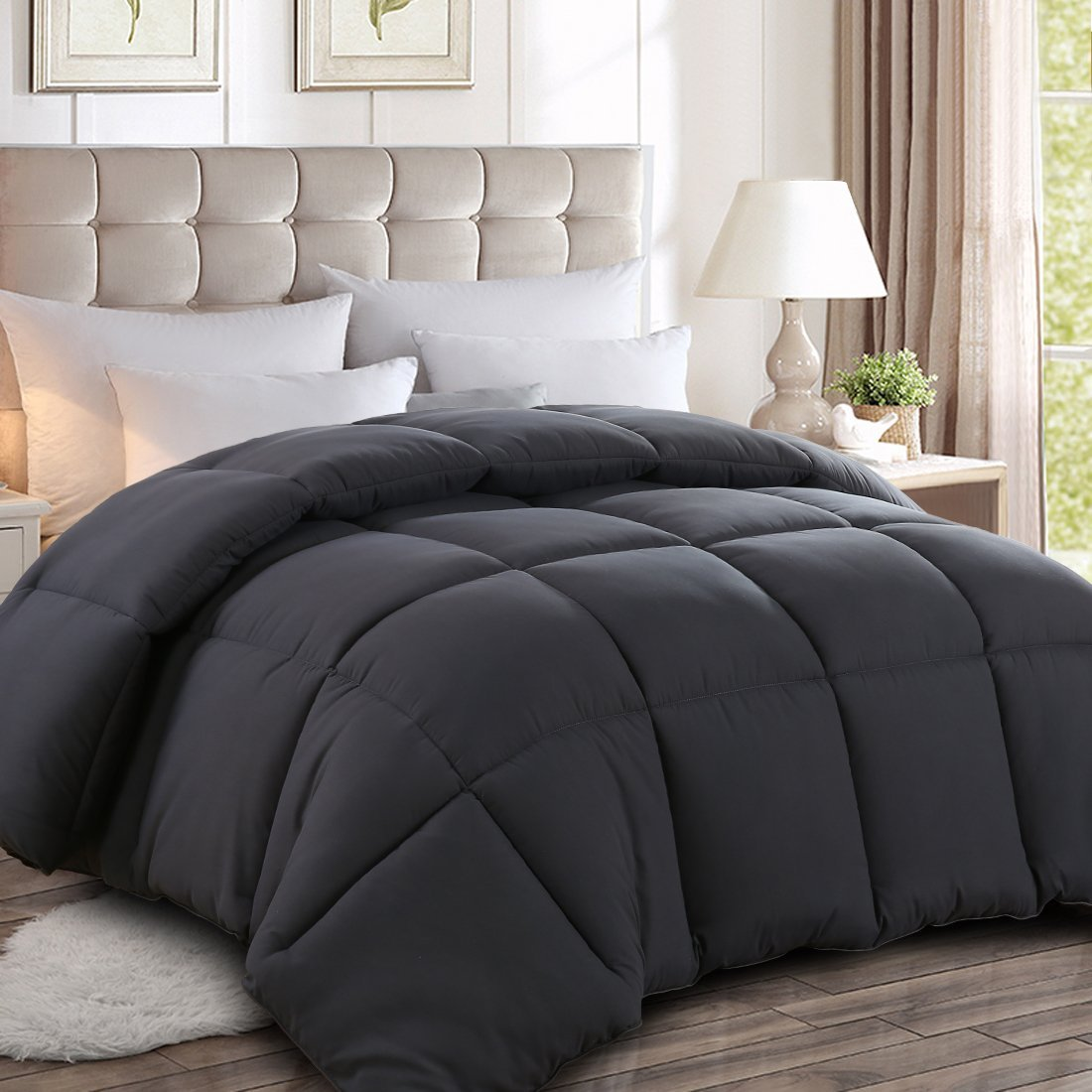 Maevis Twin Quilted Down Alternative Comforter All Season - Hotel Collection Luxury Soft Warm Fluffy Hypoallergenic Reversible Duvet Insert with Corner Tab White,64 by 88 Inches